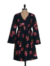 Blue Rose Print Dress - Eavan