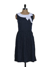 Navy Blue And White Printed Dress - Eavan