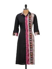 Black, Pink And Mauve Printed Collar-neck Kurta - Kaccha Taanka