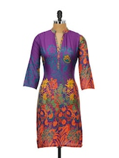 Purple Cotton Kurta With Multi-coloured Floral Prints - Kaccha Taanka