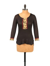 Short Black Kurti With Embroidery - Ira Soleil