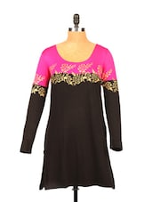 Black & Pink Kurta With Rose Print - Ira Soleil