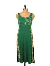 Greene Kurti With Long Slit - Ira Soleil