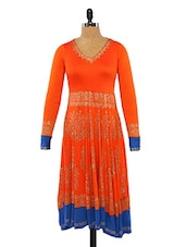 Orange Anarkali With Gold Print - Ira Soleil