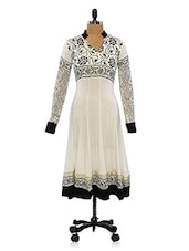 White And Black Long Sleeves Floral Printed Anarkali - Ira Soleil