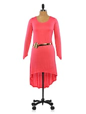 Pink High Low Tunic With Gold Floral Belt - Ira Soleil