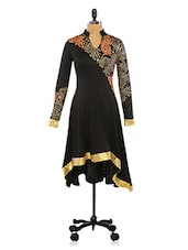 Mandarin Collar Gold Print Long Sleeve Black Kurta - By