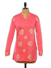 Women Coral Floral Printed Long Sleeve Kurti - Ira Soleil