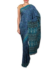 Navy Blue Floral Printed Crepe Saree - By