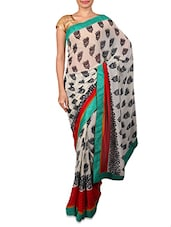 Off White Floral Printed Georgette Saree - By