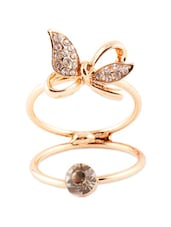 Adjustable Cute Bow Diamond Gold Polish Ring - VIDHI