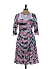 Grey And White Striped Dress With Pink Floral Prints - Holidae