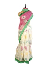 Fashionable Pink And Off-White Super Net Saree With Resham And  Zari Embroidery, Patch Border And Green Art Silk Blouse. - Drape Ethnic