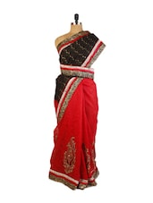 Graceful Red And Black  Super Net Saree With Zari And Resham Embroidery, Patch Border And Matching Red Blouse. - Drape Ethnic