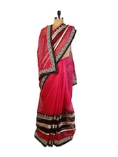 Pretty Pink Super Net Saree With Resham Embroidery, Patch Border And Matching Black Art Silk Blouse. - Drape Ethnic