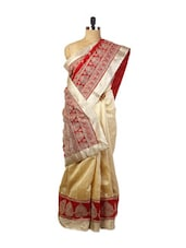 Attractive Red And Beige  Party And Festive Wear Art Silk Saree With Resham Embroidery, Stone Work And Patch Border, Silver Art - Drape Ethnic