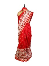 Striking Red And Off-White With Zari And  Resham Embroidery, Patch Border And A Red Art Silk Blouse. - Drape Ethnic