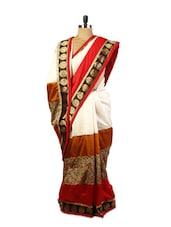 White And Red Art Silk Saree - Drape Ethnic