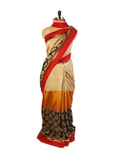 Beautiful Beige, Orange And Black Art Silk Saree With Joint, Patch Border And A Matching Black Blouse. - Drape Ethnic