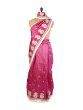 Pretty Pink Art Silk Saree With Resham Embroidery, Patch Border And A Matching Pink Blouse. - Drape Ethnic