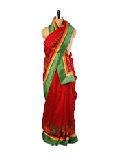 Red Art Silk Saree With Green Border - Drape Ethnic