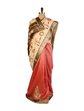 Cute Cream And Red Art Silk Saree With Resham And  Zari Embroidered Border, Patch Border,  Matching Red Blouse. - Drape Ethnic