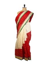 Red And Beige Benarasi Cotton Saree With Golden Yellow Zari Embroidered Patch Border, Green Raw Silk Blouse. - Drape Ethnic