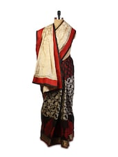 Beige And Black Combination Benarasi Cotton Saree With Heavy Resham Embroidered Motifs, Patch Borders And Brown Raw Silk Blouse - Drape Ethnic