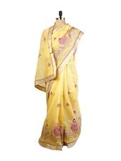 Graceful Yellow Benarasi Cotton Saree With Resham, Zari Embroidery  And Golden Raw Silk Blouse. - Drape Ethnic