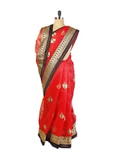 Red  Benarasi Cotton Saree With Resham, Zari Embroidery Work, Black Border And A Beige Blouse Piece. - Drape Ethnic