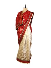Gorgeous Red And Cream Art Silk Saree With Weave Work, Zari Embroidered And A Patch Work Border, Maroon Art Silk Blouse. - Drape Ethnic