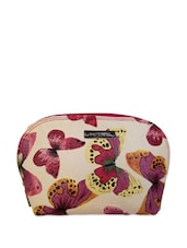 Butterfly Print Cream Cosmetic Pouch - Haute Potli