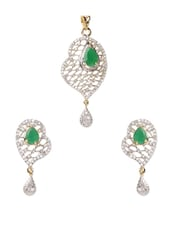 Set Of Fancy Gold Plated Pendant And Earring - Savi