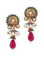 Multicoloured Stone Work Long Earrings - Maayra
