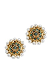 Blue Stones And White Pearl Studs - Maayra