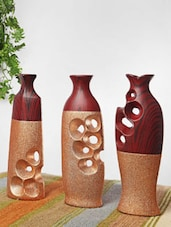 Speckled Gold And Brown Ceramic Vases(Set Of 3) - Home Stopper