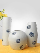 White And Blue Ceramic Vases(Set Of 3) - Home Stopper