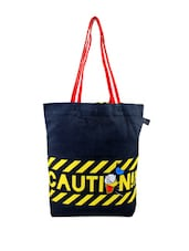 Yellow And Black Striped Donald Duck And Caution Print Tote Bag - Be... For Bag