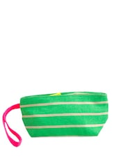 Green Canvas Striped Wristlet - Be... For Bag