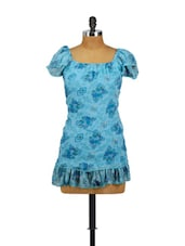 Blue Floral Top With Ruffled Hem - Vani