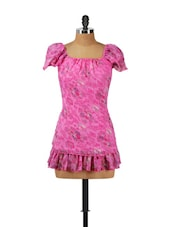 Pink Floral Top With Ruffled Hem - Vani