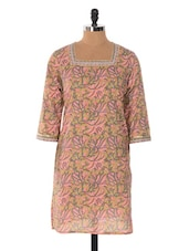 Light Pink Floral Print Cotton Kurta - Jaipurkurti.com