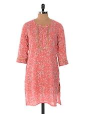 Pink Floral Print Cotton Kurta - Jaipurkurti.com