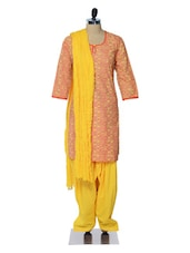 Yellow And Peach Printed Suit Set - Jaipurkurti.com