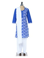 Blue And White Printed Suit Set - Jaipurkurti.com