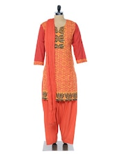 Orange And Peach Printed Suit Set - Jaipurkurti.com