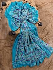 Turquoise Georgette Printed Saree - Jaipurkurti.com