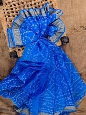 Blue Silk Bandhej Saree - Jaipurkurti.com