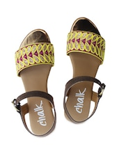 Brown, Purple And Yellow Strappy Sandals - Chalk Studio