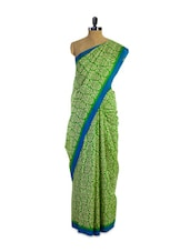 Green Printed Silk Saree With Blue Border - Pothys